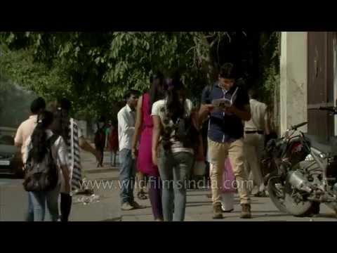 Girls coming out of Sri Guru Tegh Bahadur Khalsa College in Delhi University