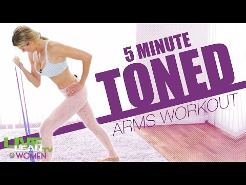 5 Min Toned Arms Stretch Band Workout | LiveLeanTV