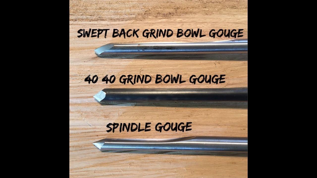 Woodturning - Sharpening 3 Different Gouges (Swept Back and 40/40 Bowl,  Standard Spindle)