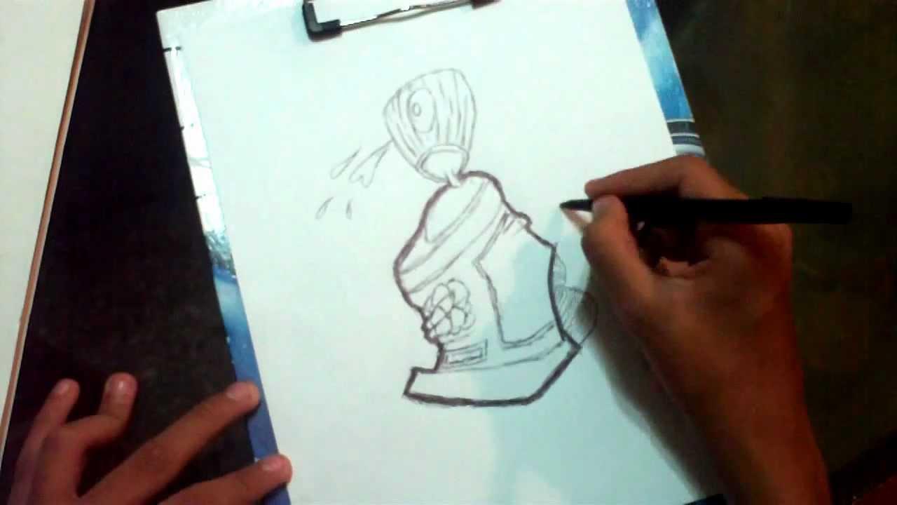 como dibujar una lata de spray