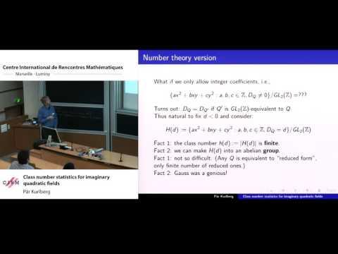 Pär Kurlberg: Class number statistics for imaginary quadratic fields  Pär Kurlberg