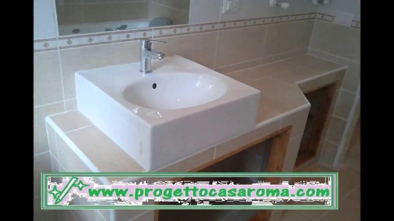 Ristrutturazione appartamento bagno roma realizzazione di lavabo in muratura youtube - Lavabo bagno muratura ...