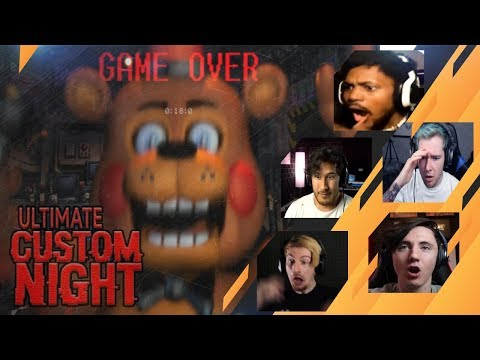 Gamers Reactions to the First Game Over (JUMPSCARE)| Ultimate Custom Night (FNAF)