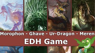 Morophon vs Ghave vs Ur-Dragon vs Meren EDH / CMDR game play