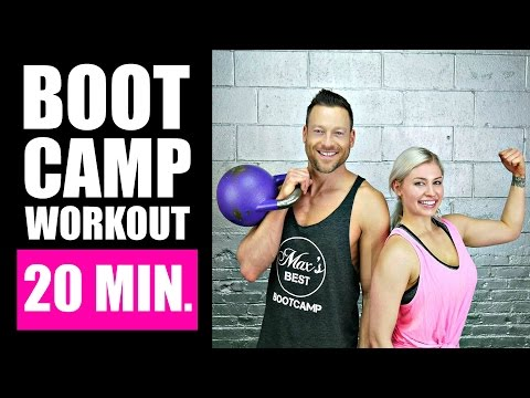 20 MINUTE BOOTCAMP WORKOUT WITH KETTLEBELL, CARDIO, ABS | Fa