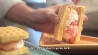 Strawberry Crunch Ice Cream Waffle Sandwich
