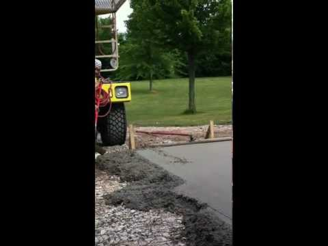 Part 3 of Papi pouring concrete apron and sidewalk with Jim, Buddy and Miguel