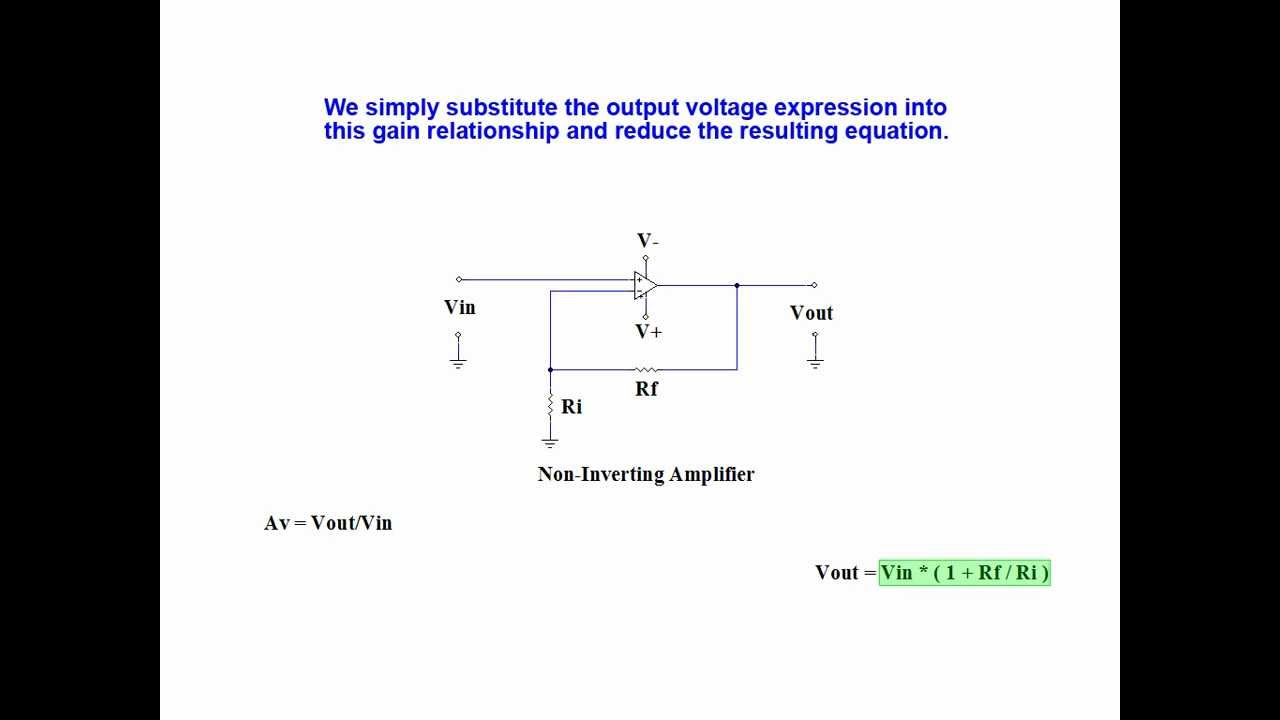 Online Tutorial On Calculating Non-Inverting Operational Amplifier ...
