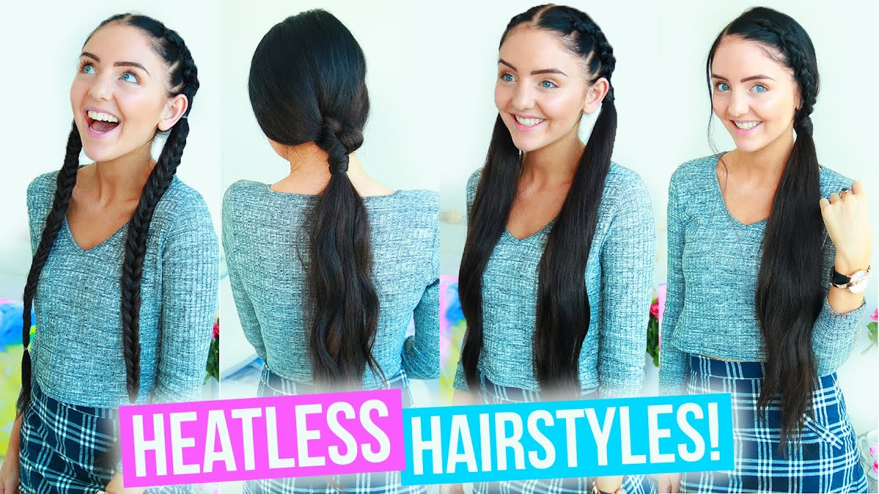Heatless Hairstyles For School Work Quick Easy 2016 Youtube