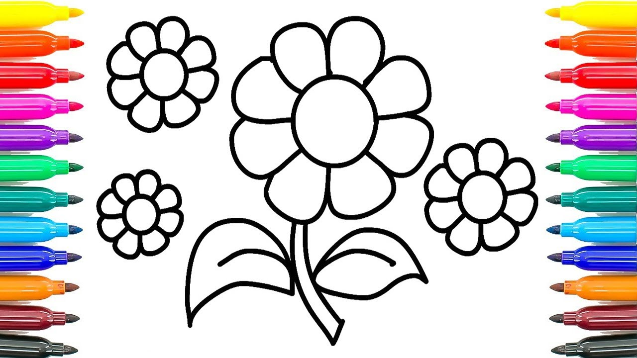 How To Draw Daisy Flower Coloring Pages For Kids Paint Funny Book