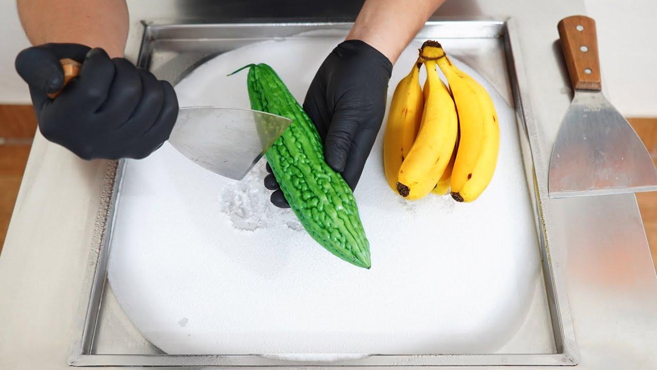ASMR - Bitter Melon Vs Banana Ice Cream Rolls   How to make Ice Cream out of Bitter Melon