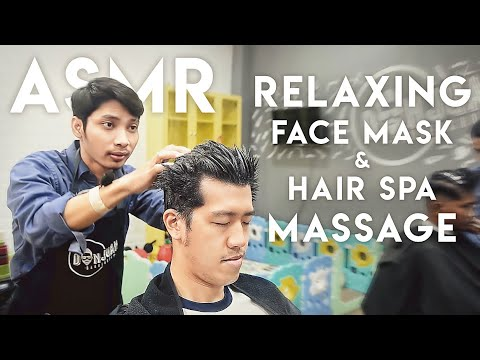 💈💆🏻‍♂️ ASMR Relaxing Face Mask & Hair Spa Massage