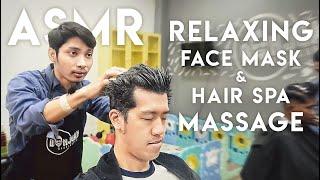 ASMR Relaxing Face Mask Hair Spa Massage