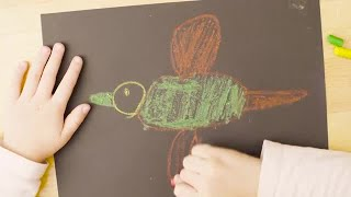 Girl Drawing With Pastels Stock Video