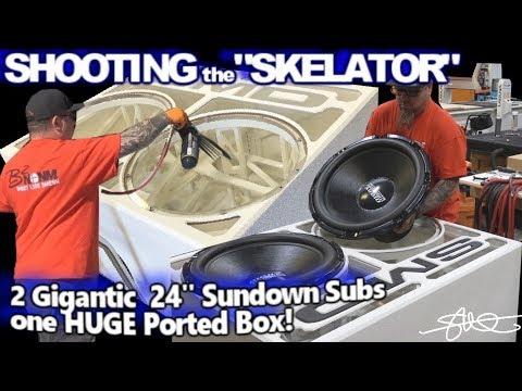 "Shooting the ""Skelator""! 2 Gigantic 24"" Sundown Audio Zv5 Subwoofers One HUGE Ported Box!"