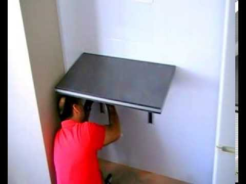 Como poner una mesa plegable en una pared youtube - Mesa estudio plegable ...