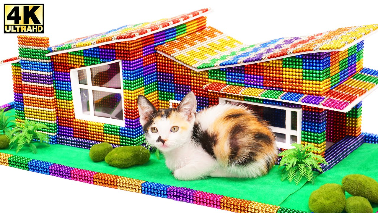Build The Most Beautiful Villa House for Cat From Magnetic Balls (Satisfying) | Magnetic Man 4K