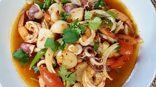 SPICY SEAFOOD SALAD| Yum Talay | Lao food