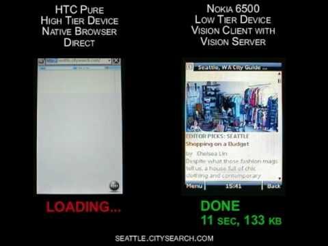 HTC Pure Native browser vs Nokia 6500 with Novarra server-browser