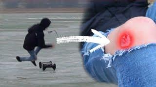 Mit ELEKTRISCHEM LONGBOARD auf dem Eis.. (fast den Arm gebrochen) 😳   Oskar