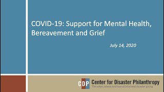 COVID-19: Support for Mental Health, Bereavement and Grief webinar