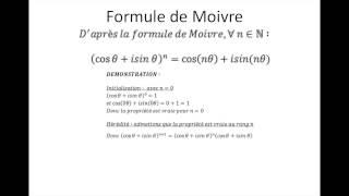 Nombres complexes partie 5 : La formule de Moivre