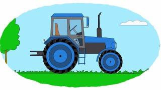 Мультик - Раскраска. Учим Цвета - Мультики про машинки - Тракторы - Часть 1