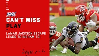 Lamar Jackson Escape Leads to Mark Ingram TD
