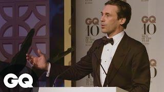 Jon Hamm Says Australians Are Freeloading Sofa Surfers | GQ | Speech