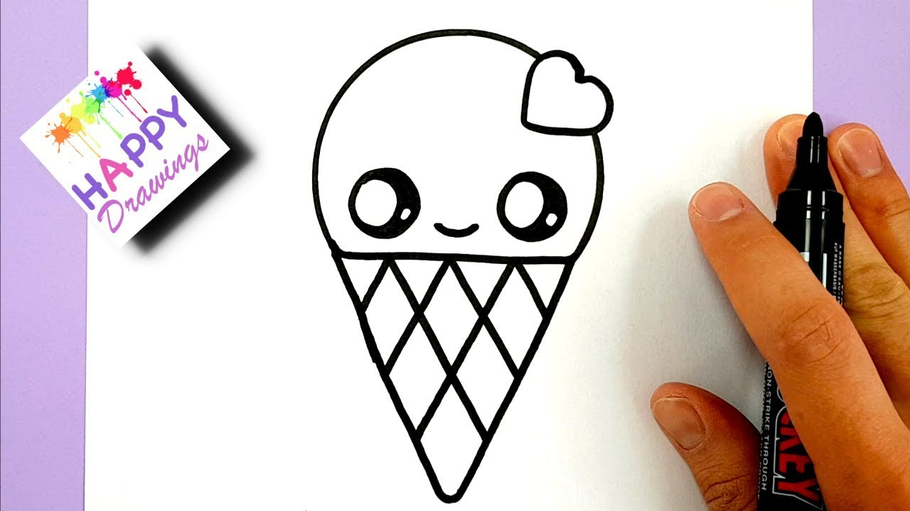 How To Draw A Cute Ice Cream With A Love Heart Cute And Easy Youtube