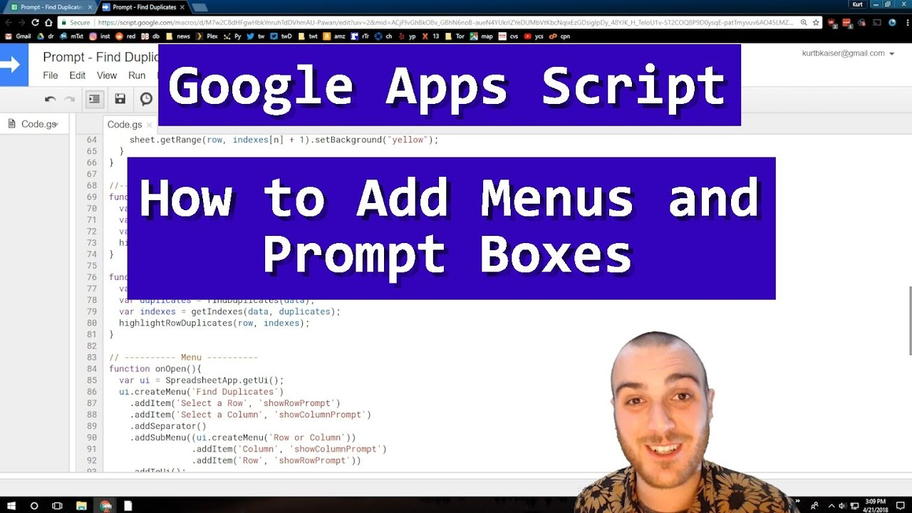 Google Sheets: Menus and Prompts in Google Apps Script