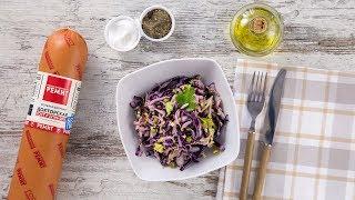 Салат из капусты с колбасой Докторской РЕМИТ, горошком и сельдереем