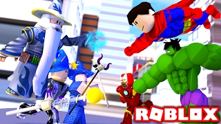 WIZARDS vs SUPERHEROES IN ROBLOX!