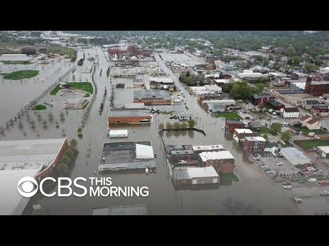 Downtown Davenport Under Water After Iowa Levee Breach