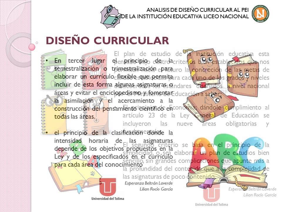An lisis de dise o curricular del liceo nacional de ibagu for Diseno curricular para el nivel inicial