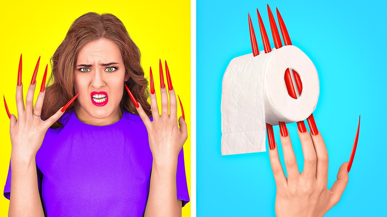 LONG HAIR AND LONG NAIL PROBLEMS    Awesome Situations In Real Life by 123 GO!