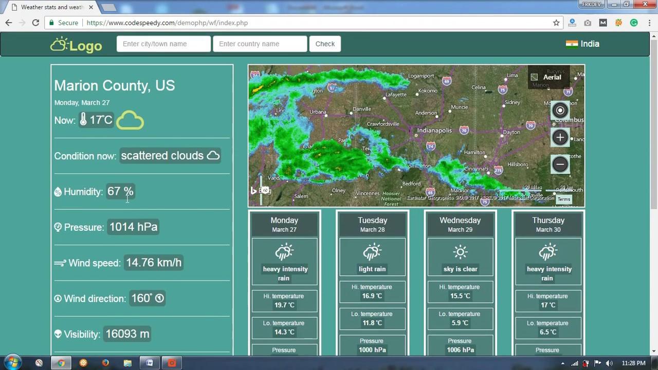 Weather Forecast Php Script Using Openweathermap Api Youtube
