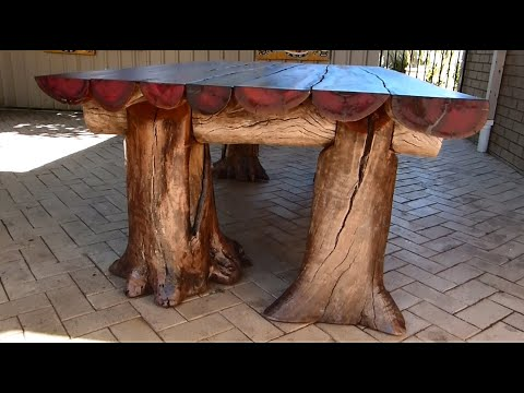 Rustic Outdoor Table, Woodworking with a Chainsaw. EXTRA 95min Showing the full build of this table.