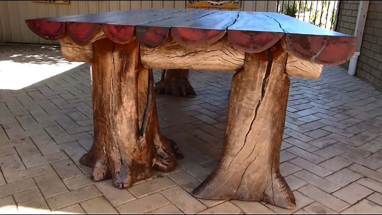 rustic outdoor table woodworking with a chainsaw