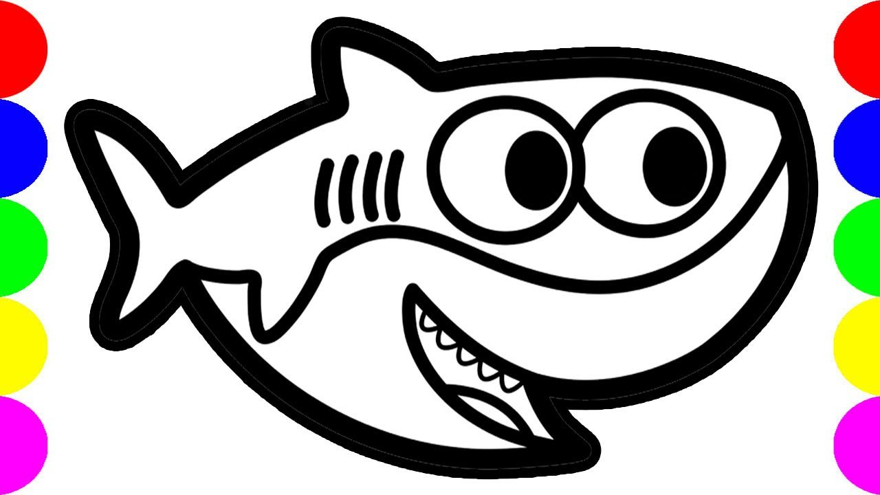 Baby Shark Drawing Pictures Easy Coloring Art For Kids ...