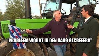 Boer Slijptol en Boer Ad protesteren met Friese vlag in Noord-Holland