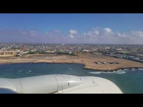 Aborted landing - Mogadishu, Somalia!! Turkish Air Boeing 737 (maybe)