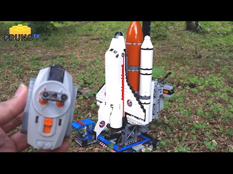 LEGO 60080 Space port RC - Launch of Lego space shuttle(using technic beam brick) by 뿡대디