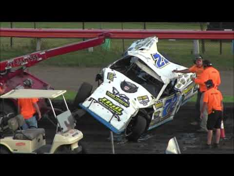 Austin Lynn Takes a Tumble At Farmer City Raceway  8 23 19