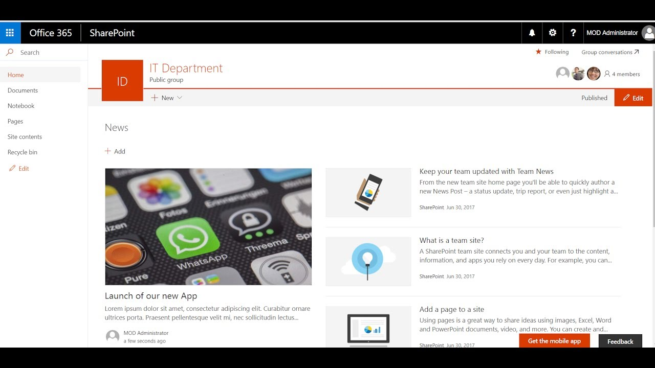 Sharepoint Modern Sites