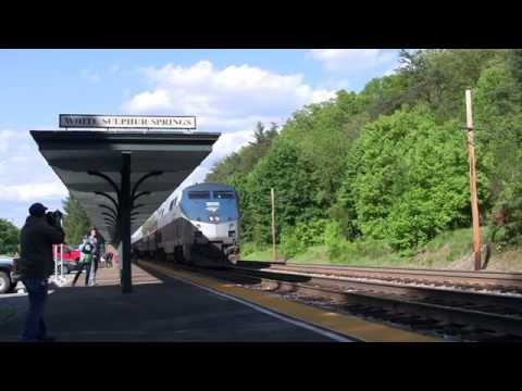 CSX Coal Train and Amtrak's Cardinal White Sulphur Springs, WV [HD]