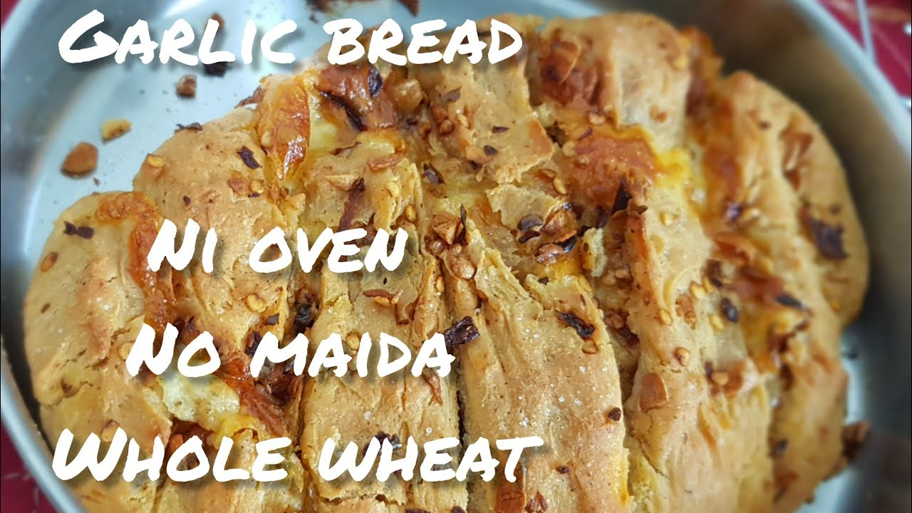 Garlic bread No OVEN No maida No baking powder soda|| Domino's style cooker pan garlic no egg bread