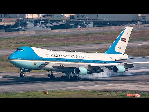 Air Force One Landing at Iwakuni Air Station, Japan