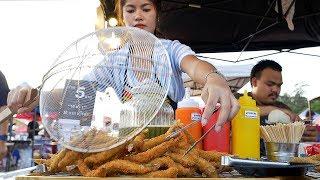 Fried Shishamo 7 THB (0.20 USD) / piece Fried Mushrooms 30 THB (1 USD) / bag KKU Flea Market, Khon Kaen, Thailand Subscribe: https://goo.gl/JwMAjn ...