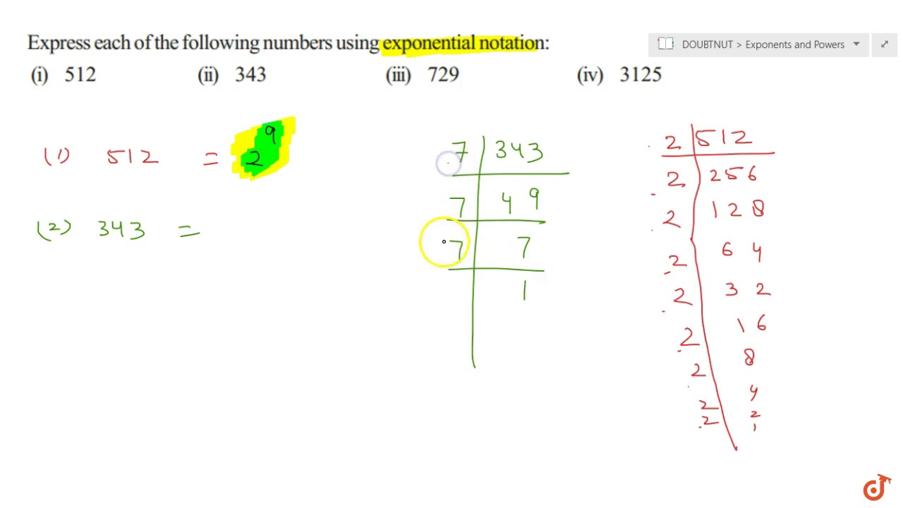 Express each of the following numbers using exponential notation: (i) 26  (ii) 26 (iii) 26 (iv